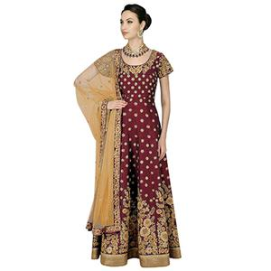 Gorgeous Maroon Embroidered Anarkali Style Gown For Wedding Reception