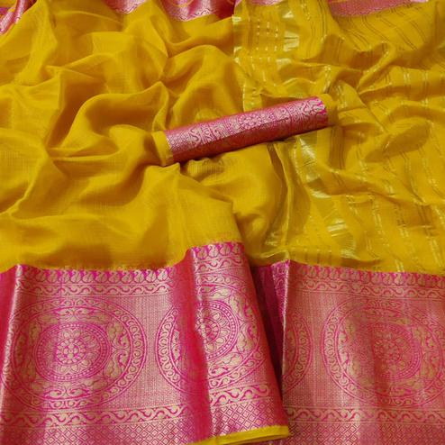 Trendy Yellow Colored Festive Wear Woven Kota Doria Saree
