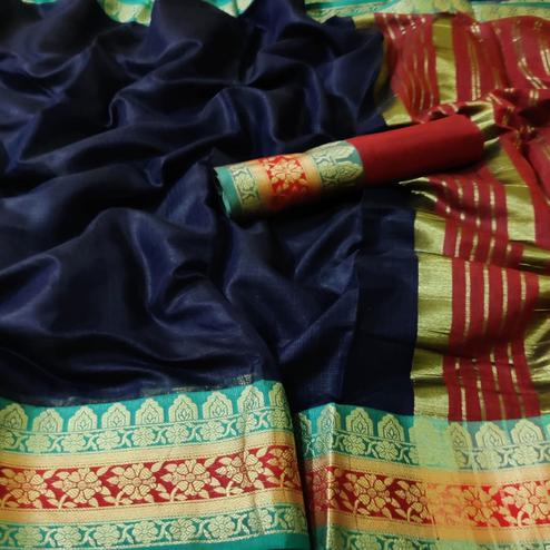 Elegant Navy Blue Colored Festive Wear Woven Kota Doria Saree