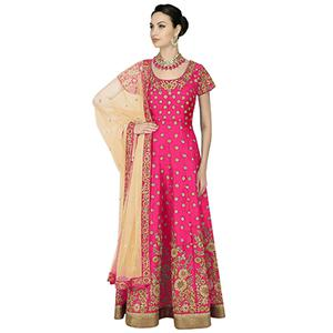 Adorable Pink Embroidered Anarkali Style Gown For Wedding Reception