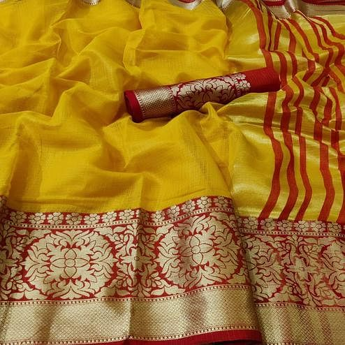 Energetic Yellow Colored Festive Wear Woven Kota Doria Saree
