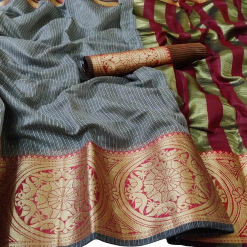 Exceptional Grey Colored Festive Wear Woven Kota Doria Saree