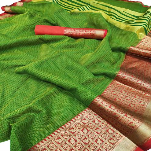 Gleaming Green Colored Festive Wear Woven Kota Doria Saree