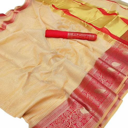 Mesmeric Cream Colored Festive Wear Woven Kota Doria Saree