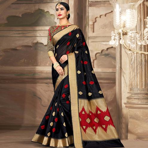 Adorable Black Colored Festive Wear Woven Cotton Handloom Saree