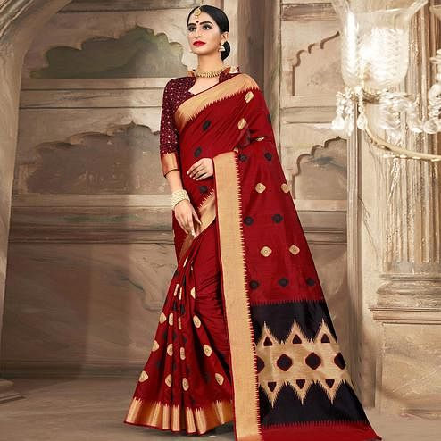 Glorious Red Colored Festive Wear Woven Cotton Handloom Saree