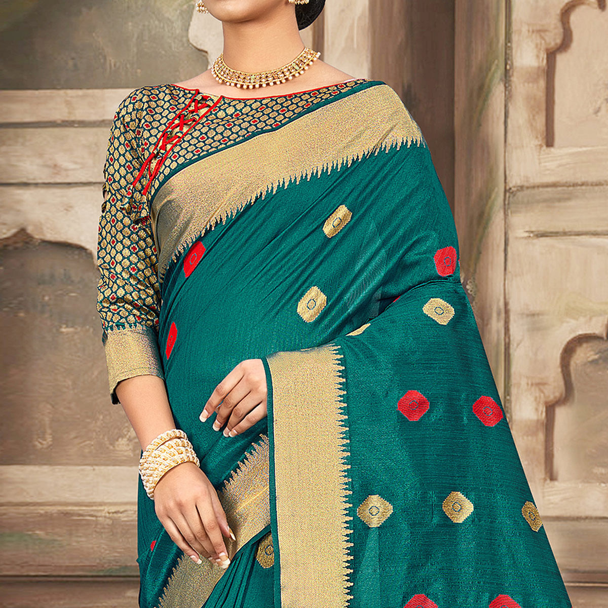 Attractive Turquoise Colored Festive Wear Woven Cotton Handloom Saree