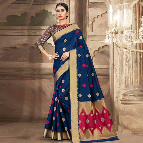 Beautiful Navy Blue Colored Festive Wear Woven Cotton Handloom Saree