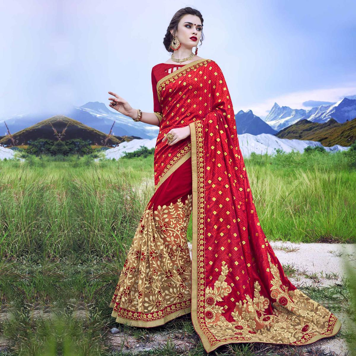 Attractive Red - Beige Floral Embroidered Partywear Saree