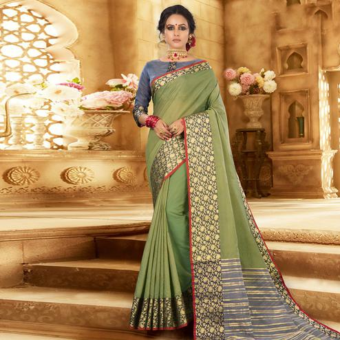 Captivating Olive Green Colored Festive Wear Woven Khadi Silk Saree