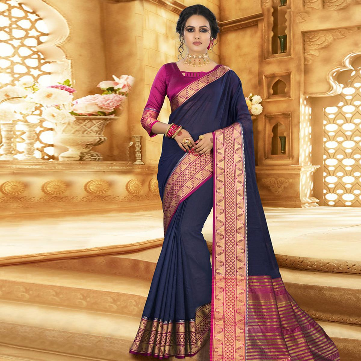 Innovative Navy Blue Colored Festive Wear Woven Khadi Silk Saree