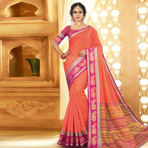 Eye-catching Peach Colored Festive Wear Woven Khadi Silk Saree