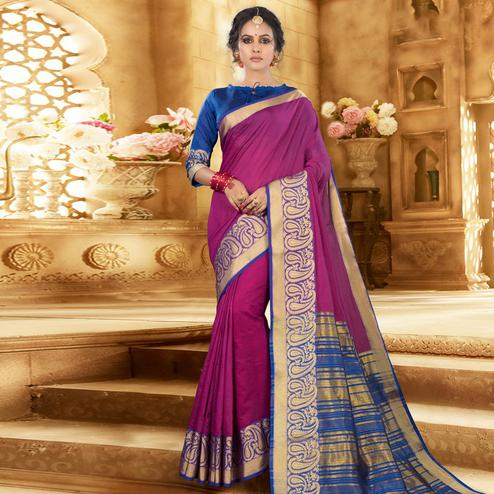 Fantastic Purple Colored Festive Wear Woven Khadi Silk Saree