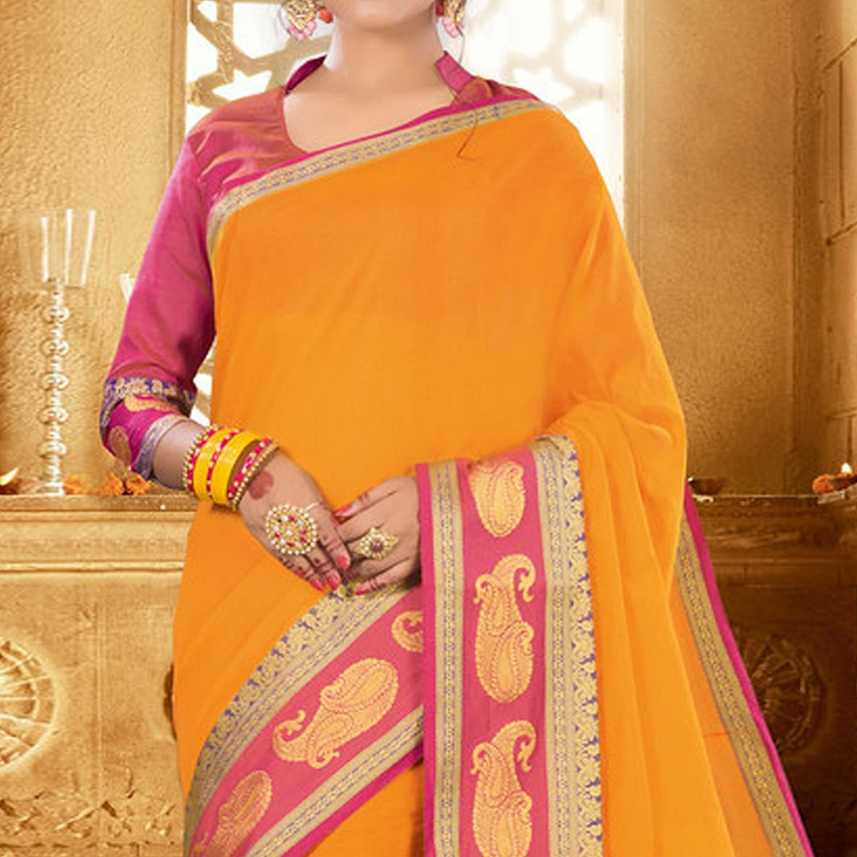 Amazing Yellow Colored Festive Wear Woven Khadi Silk Saree