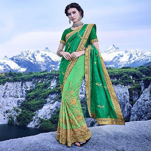 Eye-Catching Shaded Green Half - Half Embroidered Saree