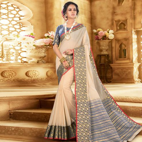 Blissful Cream Colored Festive Wear Woven Khadi Silk Saree