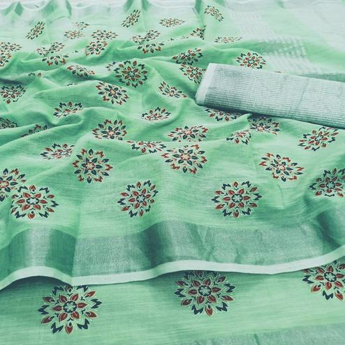 Alluring Green Colored Partywear Block Printed Pure Linen Saree