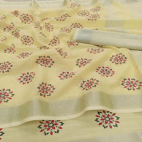 Sensational Yellow Colored Partywear Block Printed Pure Linen Saree