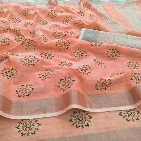 Flaunt Peach Colored Partywear Block Printed Pure Linen Saree
