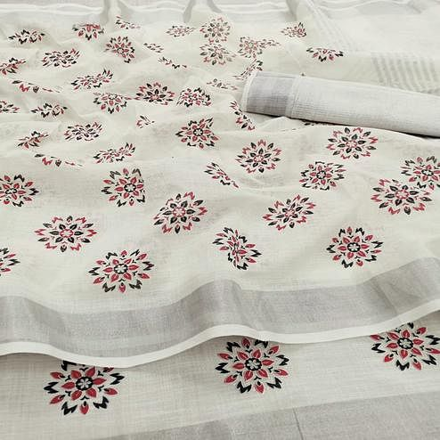 Stunning Cream Colored Partywear Block Printed Pure Linen Saree