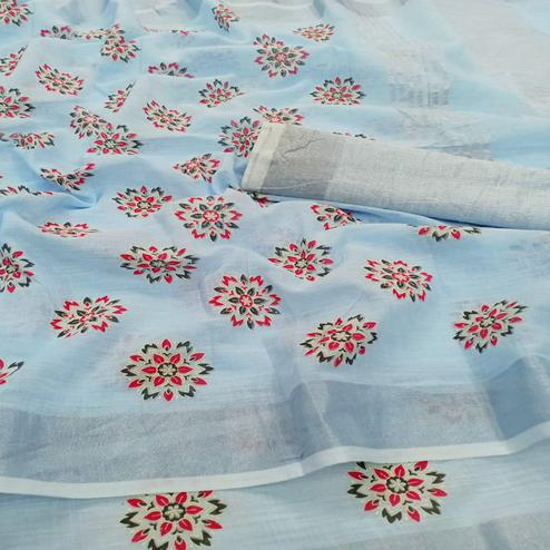Flirty Light Blue Colored Partywear Block Printed Pure Linen Saree