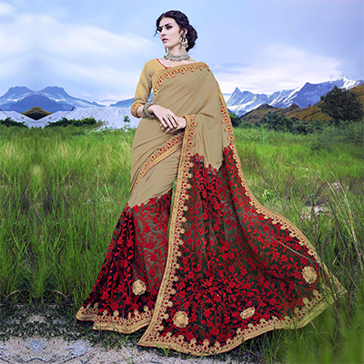 Stunning Tan - Red Floral Embroidered Partywear Saree