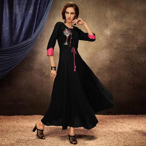 Dazzling Black Colored Partywear Embroidered Heavy Rayon Long Kurti