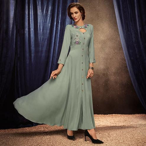 Mesmerising Light Pastel Green Colored Partywear Embroidered Rayon Long Kurti