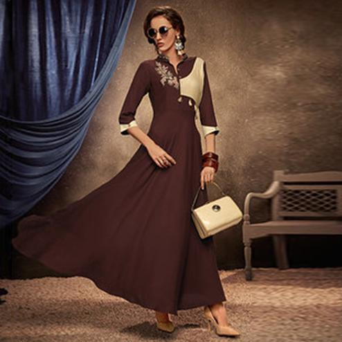 Pleasance Brown Colored Partywear Embroidered Rayon Long Kurti