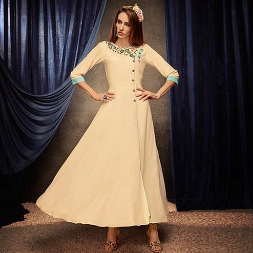 Ethnic Cream Colored Partywear Embroidered Rayon Long Kurti