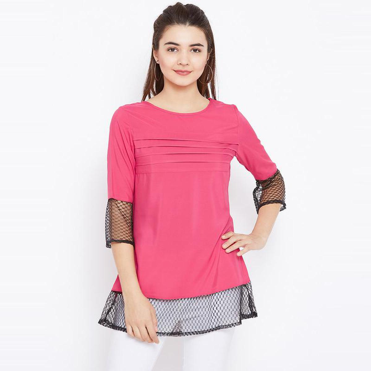 Aask - Pink Colored Casual Wear Plain Crepe Tunic