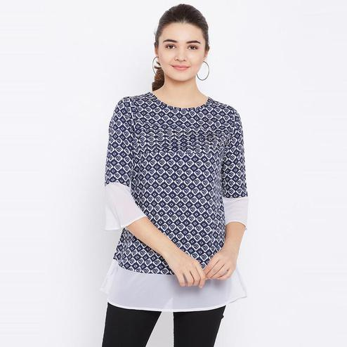 Aask - Blue Colored Casual Wear Geometric Printed Crepe Tunic