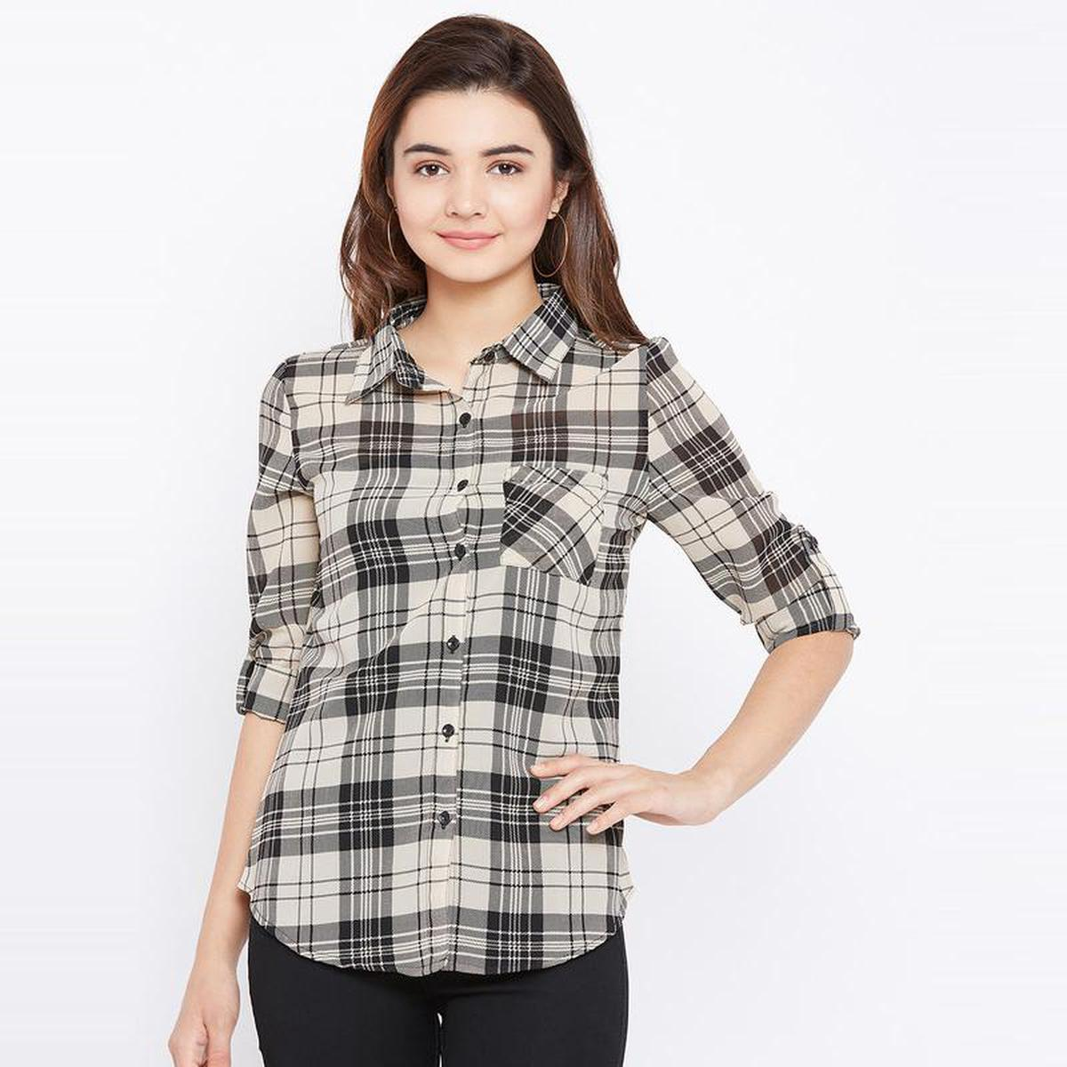Aask - Beige And Black Colored Casual Wear Striped Printed Georgette Shirt