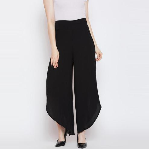 Aask - Black Colored Casual Wear Plain Rayon Palazzo