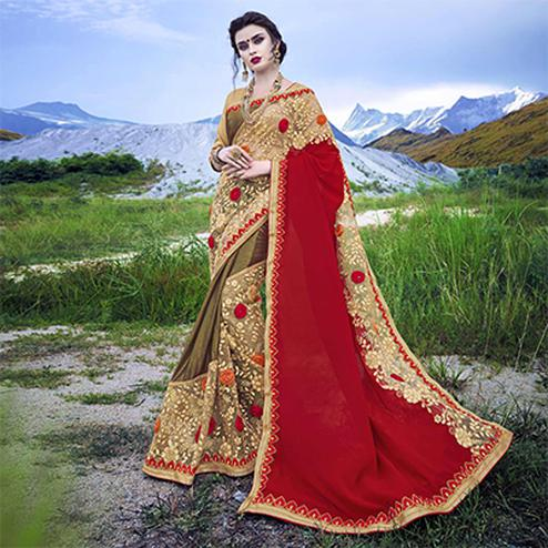 Adorable Beige - Red Floral Embroidered Half - Half Saree