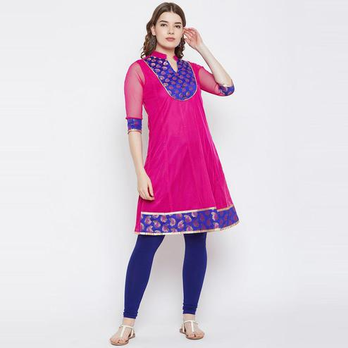 Aask - Pink Colored Casual Wear Paisley Printed A-line Net Kurti