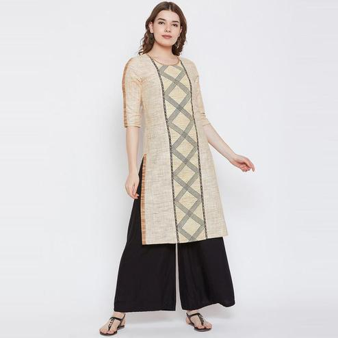 Aask - Beige Colored Casual Wear Striped Printed Khadi Cotton Kurti