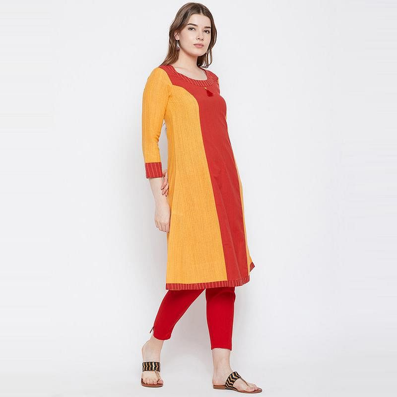 Aask - Yellow And Red Colored Casual Wear Khadi Cotton Kurti