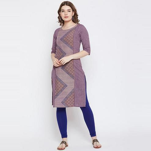 Aask - Purple Colored Casual Wear Printed Cotton Kurti