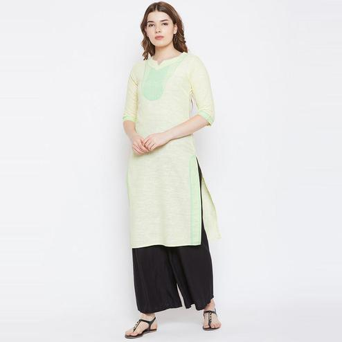 Aask - Lemon Colored Casual Wear Cotton Kurti