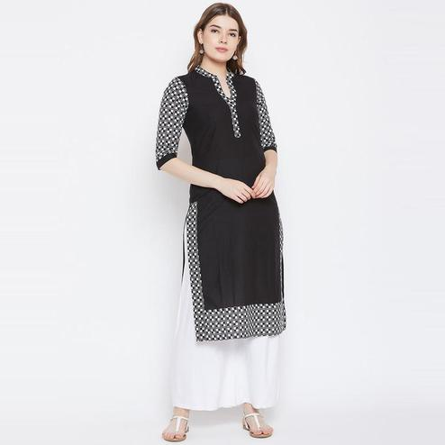Aask - Black Colored Casual Wear Check Printed Cotton Kurti