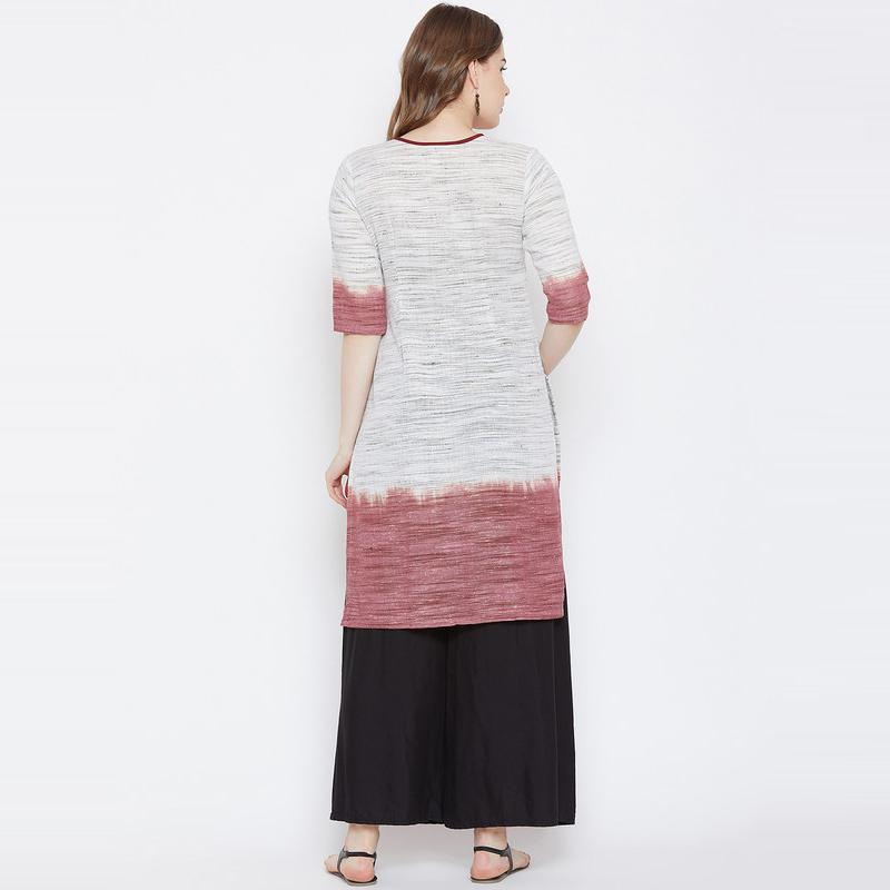 Aask - Off White Colored Casual Wear Cotton Kurti