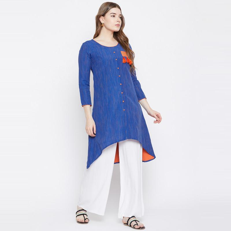 Aask - Blue Colored Casual Wear High Low Cotton Kurti