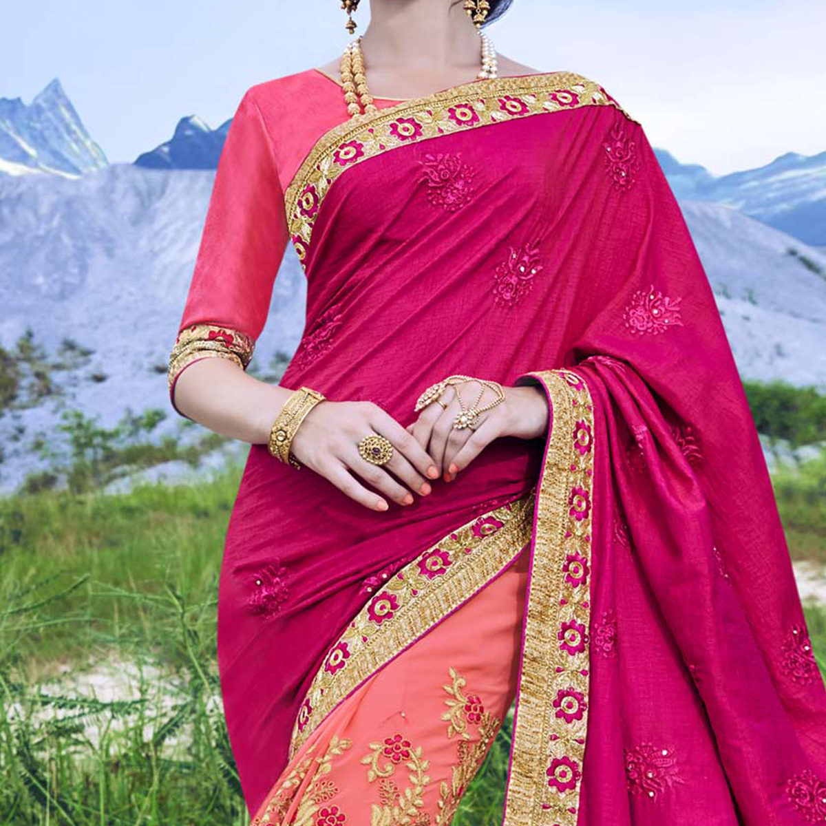Gorgeous Shaded Pink Embroidered Wedding Wear Saree