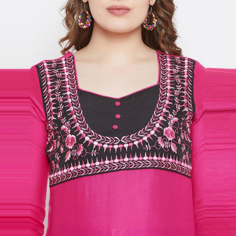 Aask - Pink Colored Casual Wear Embroidered Cotton Kurti