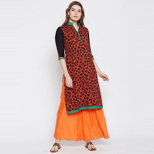 Aask - Orange Colored Casual Wear Printed Cotton Kurti
