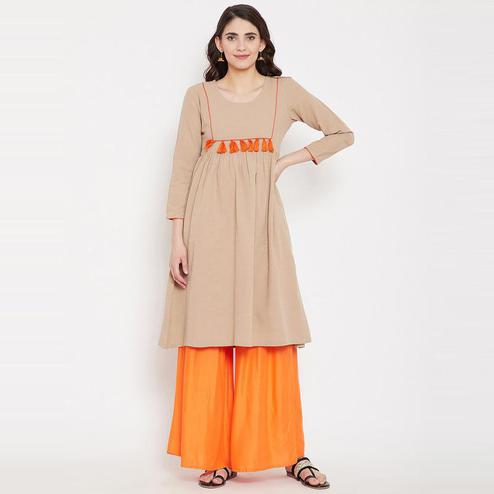 Aask - Beige Colored Casual Wear Plain Khadi Cotton Kurti