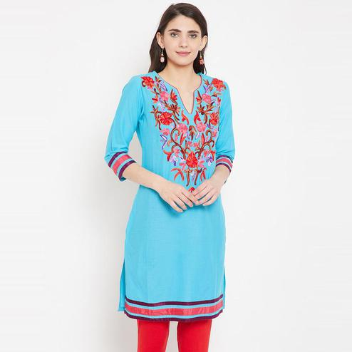 Aask - Turquoise Blue Colored Casual Wear Embroidered Cotton Kurti
