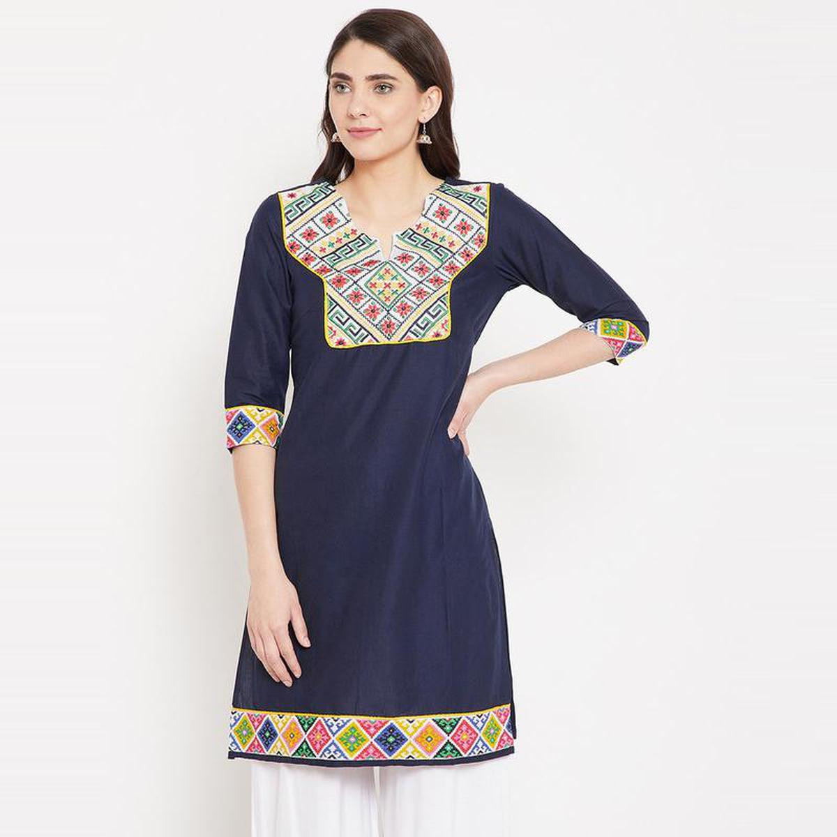 Aask - Navy Blue Colored Casual Wear Embroidered Cotton Kurti