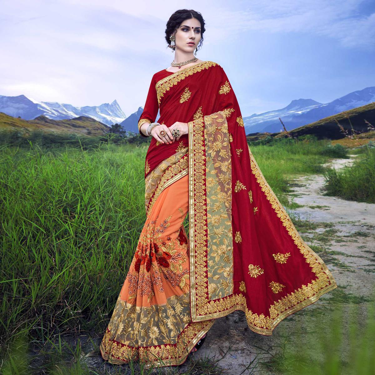 Traditional Orange - Maroon Heavy Embroidered Saree